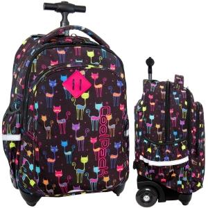 02186a90910b3 CoolPack CATS Junior 34l plecak szkolny na kółkach kolorowe kotki B28046