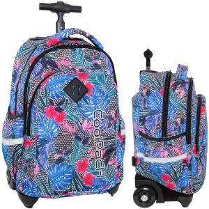 0b92231146591 CoolPack ALOHA BLUE Junior 34l plecak szkolny na kółkach hawajskie liście i  kwiaty B28048