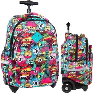 d44d0fbf7be16 CoolPack WIGGLY EYES PINK Junior 34l plecak szkolny na kółkach kolorowe  potworki B28047
