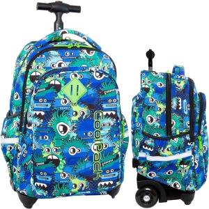 80d1f905423b8 CoolPack WIGGLY EYES BLUE Junior 34l plecak szkolny na kółkach kolorowe  potworki B28034