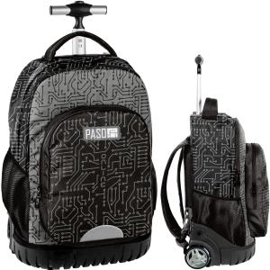 d2f817d82d640 Młodzieżowy plecak szkolny na kółkach PASO elektro - PPMP19-1231