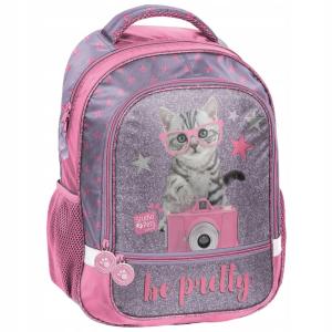 46d96d3e3c3d5 Plecak szkolny z kotkiem w różowych okularach PTG-260