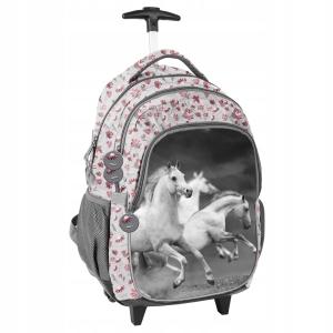 0e76b51ebe50d Plecak szkolny na kółkach dla dziewczynki z koniem, koń, konie PP19HS-997