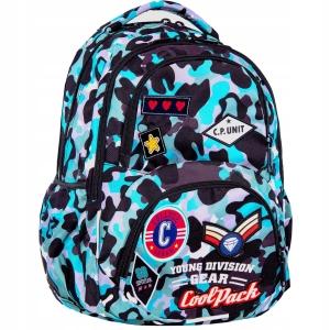 9db1f49fb9d8e CoolPack Camo BLUE Badges Dart L plecak szkolny