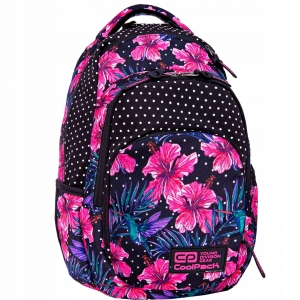 5500f72b38569 Plecak szkolny CoolPack Vance dla dziewczyny hibiskusy i turkusowo-chabrowe  liście na czarnym tle B37102