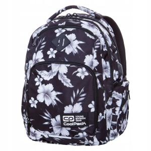 e651e14496069 Plecak szkolny CoolPack Break White Hibiscus dla dziewczyny białe kwiaty i  liście hibiscusa na czarnym tle