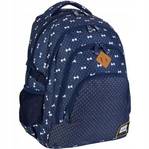 9ea39134399a6 Plecak szkolny młodzieżowy HEAD dla dziewczyny białe fikuśne kokardki i  drobne groszki HD-337