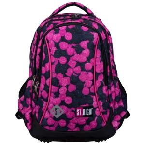 29191f16ac0c4 Plecak szkolny St.Right dla dziewczynki czarno-różowy w owoce leśne BP-26