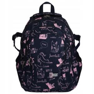 66627885345f2 Plecak szkolny St.Right dla dziewczyny granatowy w różowe kotki BP-01 CATS