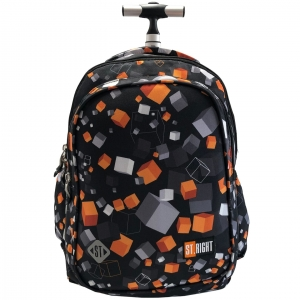 60d3c18f31734 Plecak szkolny na kółkach St.Right czarny w szare, beżowo-brązowe kostki TB