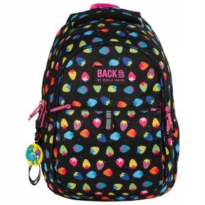 46db7621eb256 Plecak szkolny BackUP dla dziewczyny czarny plecak w neonowe truskawki  PLB2N05