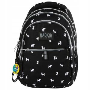 1cb2292c514b4 Plecak szkolny BackUP czarny z białymi psiakami dla amatorek rasy chihuahua  PLB2N81