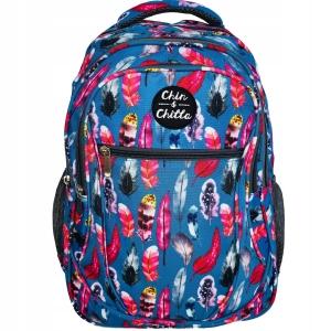 f1603006293b5 Plecak szkolny Incood dla dziewczyny kolorowe piórka na niebieskim tle  0006-0031