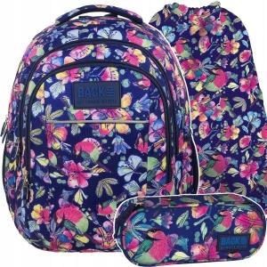 b9efbaf036a31 Zestaw 3-elementowy szkolny BackUP dla dziewczyny kwiaty i ptaszki  PLB1H4,PB1A4,WOB1A4