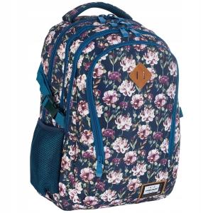 e8437ffe9c68a Plecak szkolny młodzieżowy HEAD dla dziewczyny kwiaty w odcieniach różu i  wrzosu na granatowym tle HD