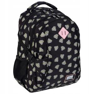 5476f219026d9 Plecak szkolny młodzieżowy HEAD dla dziewczyny czarny w kolorowe diamenty  HD-340