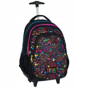 7bf3ac9a9bb0e Plecak szkolny na kółkach dla dziewczyny Big Dream - kolorowe tęczowe wzory  BDE-997