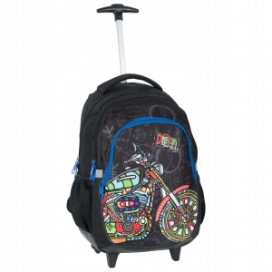 89919ea91e122 Plecak szkolny na kółkach dla dziewczyny i chłopaka Big Dream kolorowy  motocykl BDF-997