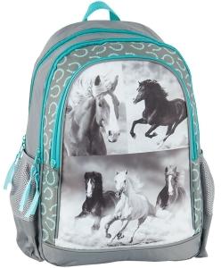 a6ff073488e36 Plecak szkolny Szaro/Mietowy z Koniem Koń Konie 17-081H