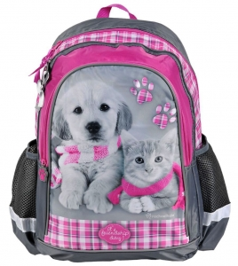 bff096945ea93 Plecak szkolny z pieskiem kotkiem Pies Kot RHM -081 Licencja Rachael Hale