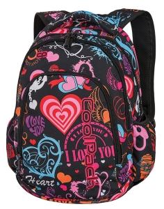 9dc802cdd014b CoolPack EMOTIONS + TORBA TERMICZNA Prime plecak szkolny, młodzieżowy,  różnokolorowe serduszka i napisy 86738CP