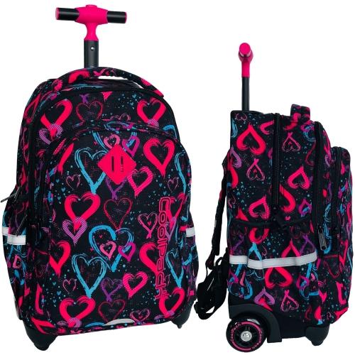 bc36875c31e20 CoolPack DRAWING HEARTS Junior 34l plecak szkolny na kółkach kolorowe serca  B28038