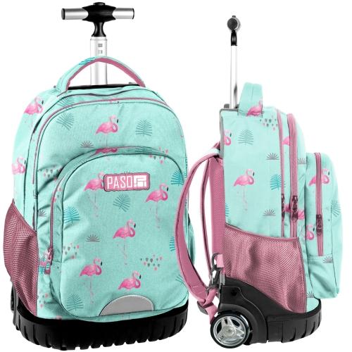 c32cd5b9f6d7f Młodzieżowy plecak szkolny na kółkach PASO różowe flamingi - PPLF19-1231