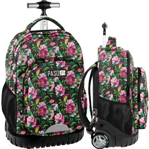 8fdb54f451a13 Młodzieżowy plecak szkolny na kółkach PASO tropikalne amarantowe kwiaty -  PPLK19-1231