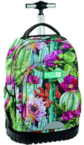 2382c7565bca5 Młodzieżowy plecak szkolny na kółkach Unique PASO - 18-1231 LO Tropikalne  Kwiaty