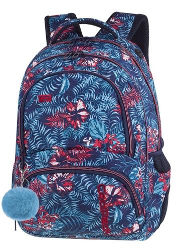 CoolPack EMERALD JUNGLE + POMPON Spiner plecak szkolny, młodziezowy, sportowy, egzotyczne niebieskie liście z czerwonymi kwiatami na granatowym tle