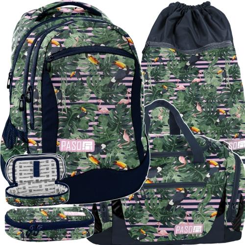 a9c8070a340da2 Zestaw młodzieżowy 4-elementowy PASO, plecak szkolny, piórnik, worek, torba  sportowa, Miejski - PPMS19-2808,013,713,019 tukany i flamingi
