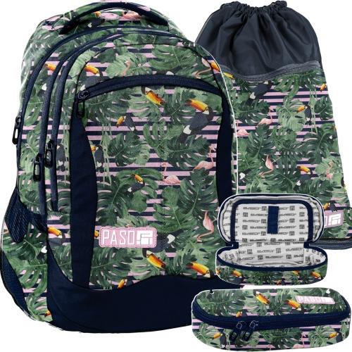 470f3ff1e1db9 Zestaw młodzieżowy 3-elementowy PASO, plecak szkolny, piórnik, worek,  Miejski - PPMS19-2808,013,713 tukany i flamingi