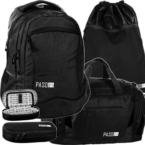 a48a2018ef6e5 Zestaw młodzieżowy 4-elementowy PASO, plecak szkolny, piórnik, worek, torba  sportowa, Miejski - PPUZ19-2808,013,713,019 klasyczny czarny