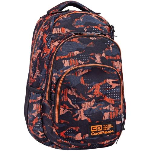 25fb842dd9e24 Plecak szkolny CoolPack Vance dla chłopaka kamuflaż-moro czarno-pomarańczowy  B37098