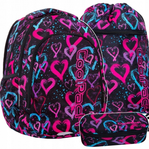 5f5c2702b1d9f Zestaw młodzieżowy 3-elementowy Coolpack, plecak szkolny, piórnik, worek  Drawing Hearts dla dziewczyny serduszka B25038,B62038,B70038