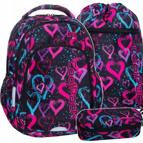 0a50468097f4f Zestaw młodzieżowy 3-elementowy Coolpack, plecak szkolny, piórnik, worek  Drawing Hearts dla dziewczyny serduszka B17038,B62038,B70038