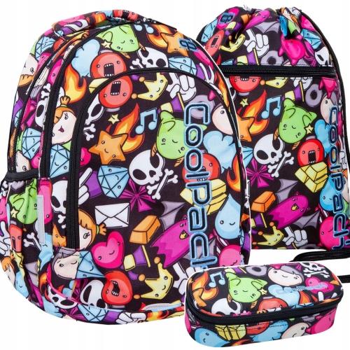 d34d1986deabe Zestaw 3-elementowy młodzieżowy CoolPack Doodle plecak szkolny, piórnik,  worek dla dziewczyny emotikony B25040, B62040, B70040