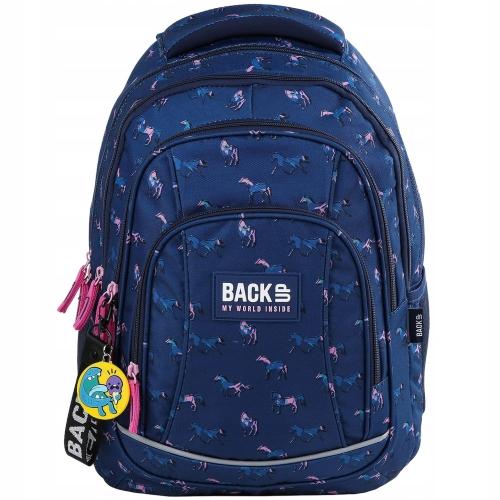 8be9e1497ec4a Plecak szkolny BackUP dla dziewczyny koniki na granatowym tle PLB2A17