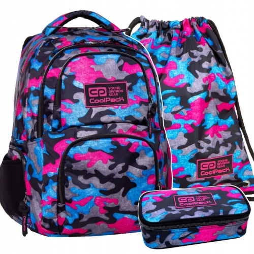 50014e84be394 Zestaw 3-elementowy młodzieżowy CoolPack Camo Fusion Pink dla dziewczyny  kolorowe moro kamuflaż B34093,B63093,B74093