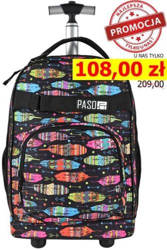 19b0b15d3c4bf Młodzieżowy plecak szkolny na kółkach Unique PASO - 17-1230 UA kolorowe  piórka
