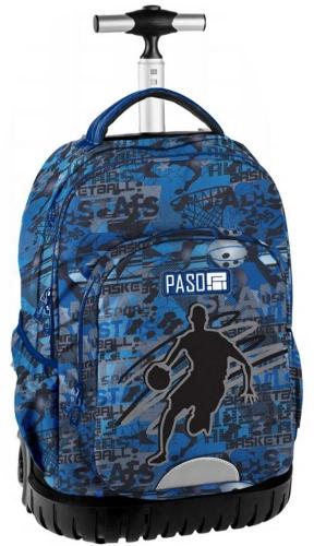 8106ade5677e2 Młodzieżowy plecak szkolny na kółkach Unique PASO - 18-1231 BB Koszykówka