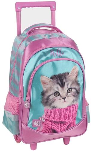 d22ad0d0f67cd Plecak szkolny na kółkach z kotkiem, kotek, kot w swetrze PEZ-1221 ...