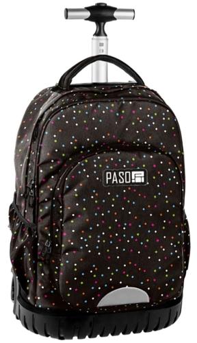 aeedd60e415c9 Młodzieżowy plecak szkolny na kółkach Unique PASO - 18-1231 CD Czarny w  kolorowe kropki