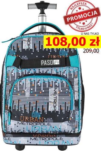996aac7ebd268 Młodzieżowy plecak szkolny na kółkach Unique PASO - 17-1230 UM City  Collection miast metropolia