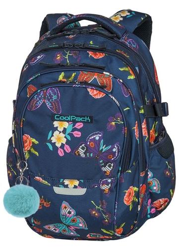 1188c7ab9b72e CoolPack SUMMER DREAM + POMPON Factor plecak szkolny, młodziezowy,  sportowy, granatowy w motyle i kwiaty 86001CP (A045)