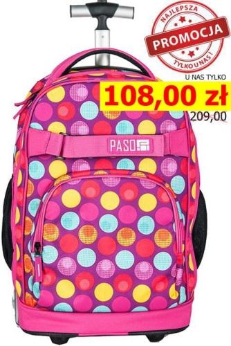 25a0f5c97a6b8 Młodzieżowy plecak szkolny na kółkach Unique PASO - 17-1230 UH kolorowe  oczka