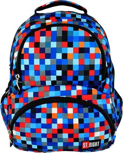 5189d7d1de40b ST.RIGHT BP-07 PIXELMANIA BLUE Plecak Młodzieżowy, Szkolny 4 komory,  kolorowe kółka 24l , niebieskie piksele. PI-1.jpg