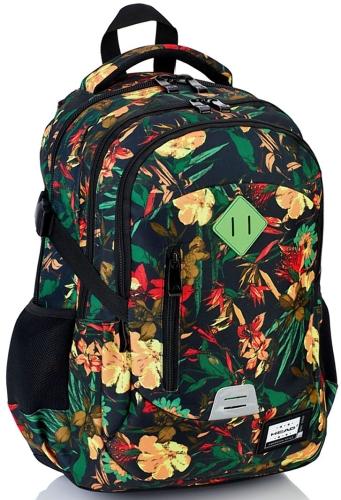 a853ccd33e292 Plecak szkolny młodzieżowy HEAD czarny w kwiaty HD-113 - plecaki.com.pl