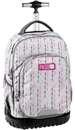 d7afa1e5ec733 Młodzieżowy plecak szkolny na kółkach Unique PASO - 18-1231 SN Szary ...