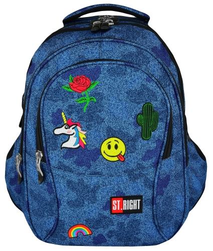 3b5342272b563 ST.RIGHT BP-01 JEANS BADGES DŻINSOWY Z NASZYWKAMI Plecak Młodzieżowy Szkolny